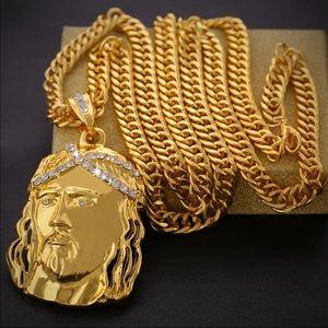 *NEW*Men cuban gold Jesus Cross big face necklace